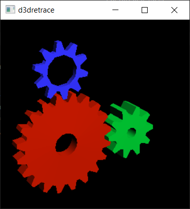 glxgears ported to d3d12 running in d3dretrace
